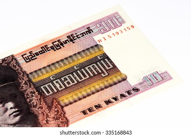 10 kyat bank note of Burma. Kyat is the national currency of Burma