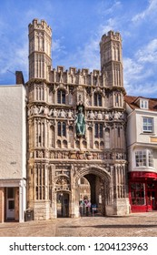 10 March 2015: Canterbury, Kent, UK - the Christ Church Gate, Canterbury Cathedral.