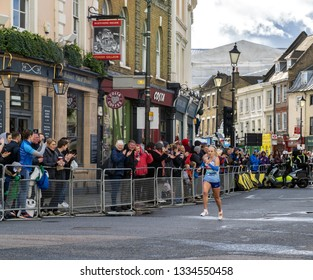 10 March 2019 - London, England. Charlotte Purdue sprint to the finish line to successfully defend her Vitality Big Half title.