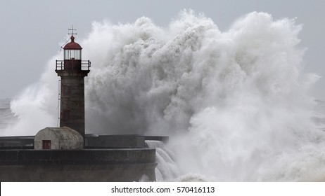 "10 Meters Big Waves Over the ""Felgueiras"" Lighthouse in Oporto, Portugal, left"