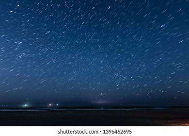 Of 10 minutes star of the trajectory (Sendai Arahama Coast)