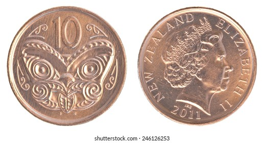 10 New Zealand cents coin isolated on white background