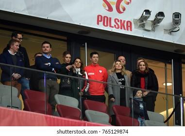 10 NOVEMBER, 2017 - WARSAW, POLAND: International Friendly game before World Cup Rusia 2018 Poland - Uruguay o/p Robert Lewandowski (Poland) with wife Anna Lewandowska