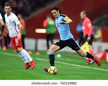 10 NOVEMBER, 2017 - WARSAW, POLAND: International Friendly game before World Cup Rusia 2018 Poland - Uruguay o/p Edinson Cavani (Uruguay)