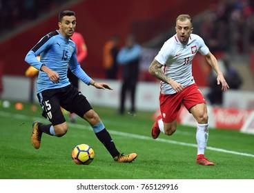10 NOVEMBER, 2017 - WARSAW, POLAND: International Friendly game before World Cup Rusia 2018 Poland - Uruguay o/p Marias Vecino (Uruguay) Kamil Grosicki (Poland)