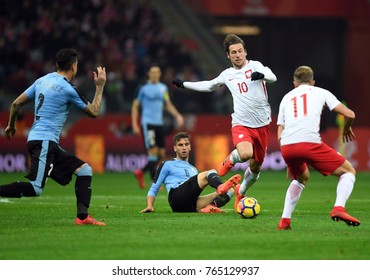 10 NOVEMBER, 2017 - WARSAW, POLAND: International Friendly game before World Cup Rusia 2018 Poland - Uruguay o/p Rodrigo Bentancur (Uruguay) Grzegorz Krychowiak (Poland)