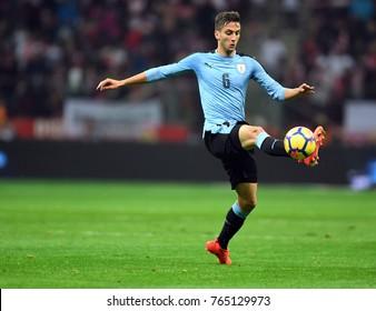 10 NOVEMBER, 2017 - WARSAW, POLAND: International Friendly game before World Cup Rusia 2018 Poland - Uruguay o/p Rodrigo Bentancur (Uruguay)