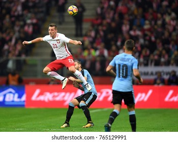 10 NOVEMBER, 2017 - WARSAW, POLAND: International Friendly game before World Cup Rusia 2018 Poland - Uruguay o/p Kamil Wilczek (Poland)