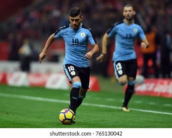 10 NOVEMBER, 2017 - WARSAW, POLAND: International Friendly game before World Cup Rusia 2018 Poland - Uruguay o/p Gissorgian de Arrascaeta (Uruguay)