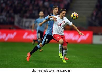 10 NOVEMBER, 2017 - WARSAW, POLAND: International Friendly game before World Cup Rusia 2018 Poland - Uruguay o/p Rodrigo Bentancur (Uruguay) Bartosz Bereszynski (Poland)