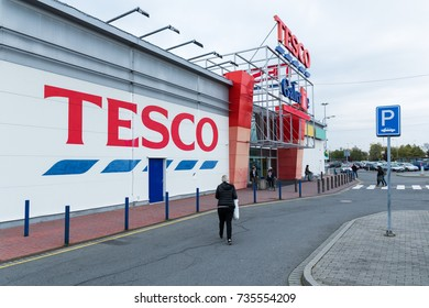 10 of October, 2017, Editorial photo of Tesco supermarket, Ostrava, Czech Republic