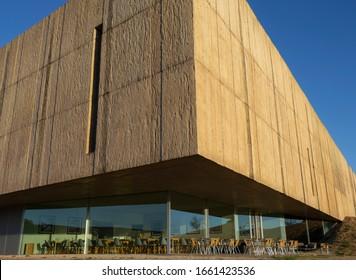 10 October 2019, External perspective of the Coa museum, designed by the architects Tiago Pimentel and Camilo Rebelo, Vila Nova de Foz Coa, Portugal.