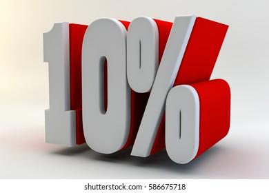 10 per cent. 3D text.