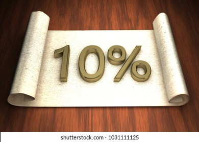 10 per cent, golden numbers, over open paper, 3d rendering