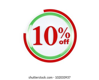 10 percent off glass isolated on white background