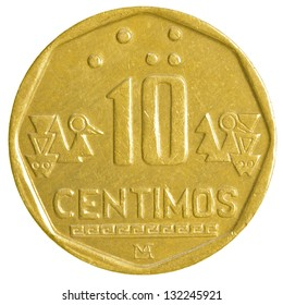 10 Peruvian nuevo sol centimos coin isolated on white background
