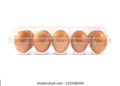 10 pieces brown eggs. Transparent egg packaging tray front view, side view isolated on white background.