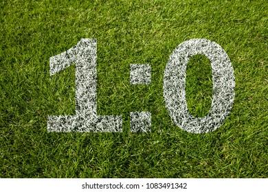 1:0 score on soccer meadow