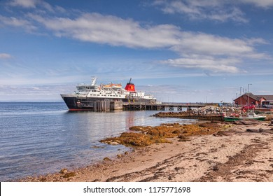 10 September 2015: Brodick, Arran, North Ayrshire, Scotland - The Calmac car ferry Caledonian Isles moored.