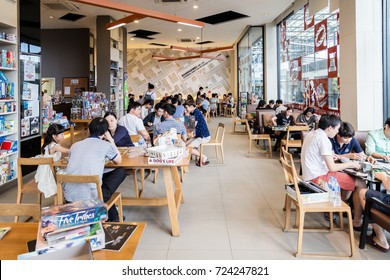 10 september 2016 bangkok thailand Unidentified  people enjoy boardgame at boardgame cafe name More than a game cafe.This game is becoming more and more popular among young people to relax in a cafe.