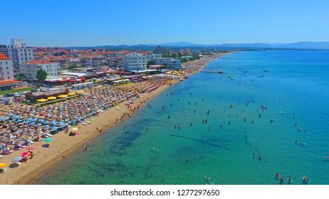Ayvalık/Turkey - 10 September 2017 - Aerial Landscape of Sarimsakli Beach seen from touristic place at Ayvalik Balikesir in Turkey.