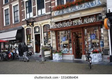 10 September 2019, Delft, Netherlands, South Holland, Europe.  Heinen Delfts Blauw souvenir shop in the city center of Delft.