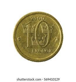 10 swedish krona coin (2000) obverse isolated on white background