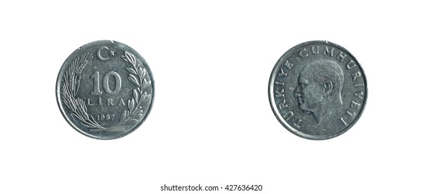 10 Turkish lira 1987 coin isolated on white background