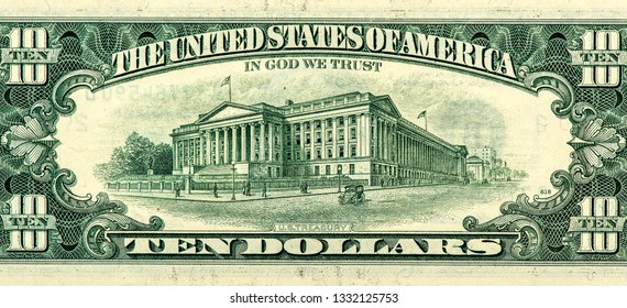 10 US dollars banknote made in 1993. United States money. Close Up UNC Uncirculated - Collection.
