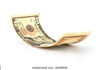 10 U.S. dollars isolated on white