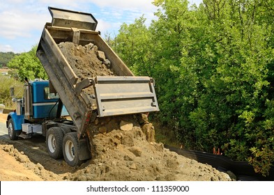 Dump Truck Dumping Dirt Images Stock Photos Vectors Shutterstock