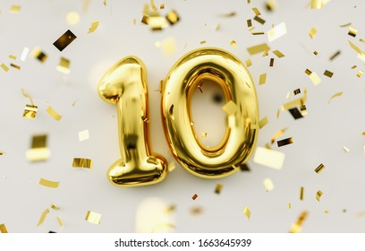 10 years old. Gold balloons number 10th anniversary, happy birthday congratulations.