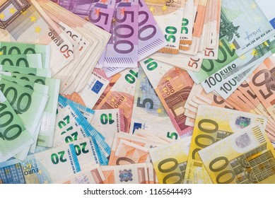 100 200 500 euro banknote as background
