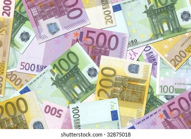 100, 200, 500 Euro notes background texture - mingled pile