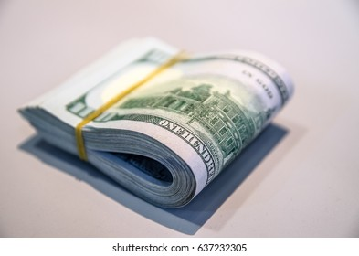 100 American Dollars on the back side, US dollar money, American bank note, US dollar on the table, American dollar domination note. American dollar currency.