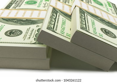 100 American Dollar's Stack 3d Rendering On White