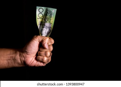 100 Australia Dollar Squeezed By Hand