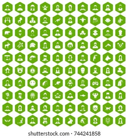 100 avatar icons set in green hexagon isolated  illustration