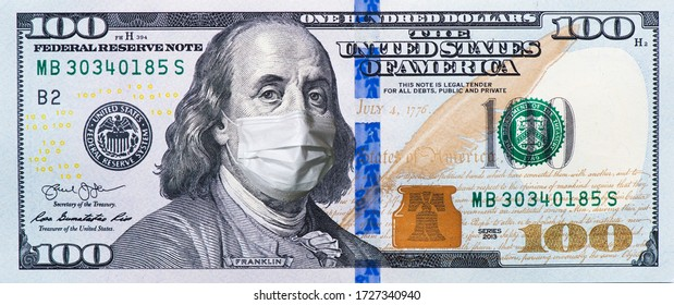 A $ 100 bill in a medical mask. World economy during the COVID-19 pandemic - Shutterstock ID 1727340940