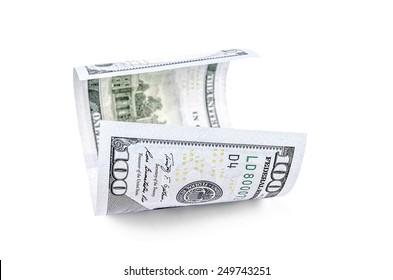 100 bill on a white background. Hundred dollar banknote.