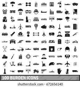 100 burden icons set in simple style for any design  illustration