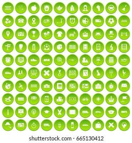 100 bus icons set green circle isolated on white background  illustration