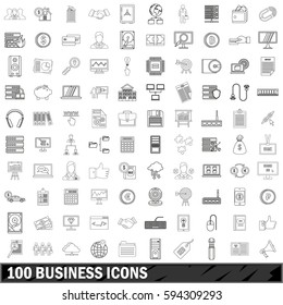 100 business icons set in outline style for any design  illustration