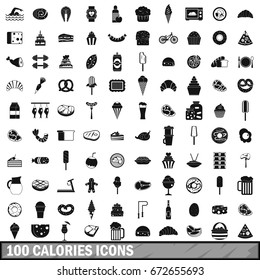 100 calories icons set in simple style for any design  illustration