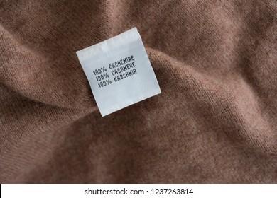 100% cashmere - material information - cashmere label