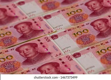 100 Chinese Renminbi banknotes background. China, Beijing.