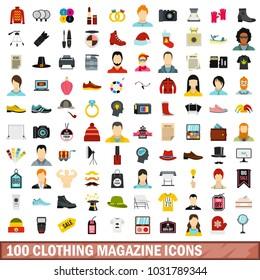 100 clothing magazine icons set in flat style for any design illustration