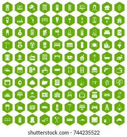 100 comfortable house icons set in green hexagon isolated  illustration
