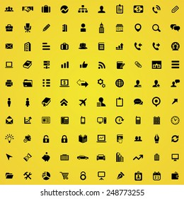 100 company icons, black on yellow background