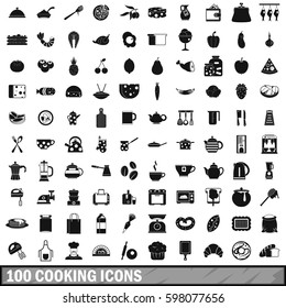 100 cooking icons set in simple style for any design  illustration